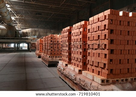 Industrial production of bricks. brick production line in factory #719810401