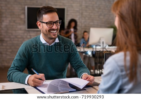 Job interview, businessman listen to candidate answers. Royalty-Free Stock Photo #719930293