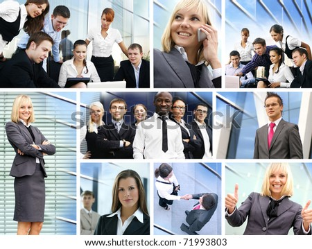 Business collage made of many different pictures about finances, time, money, real estate and relations #71993803