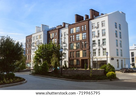"""Beautiful new modern residential complex. White and brown houses in a modern style. Residential complex """"White Chocolate"""" #719965795"""