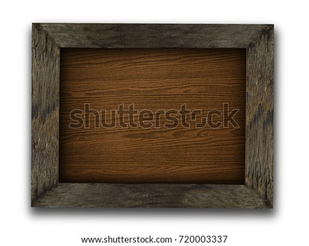 Close up brown wooden picture frame with space use for texts or products display isolated on white background with shadow
