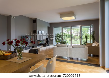 Spacious dining hall connected with cozy lounge #720009715