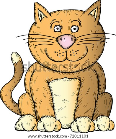 Hand drawn illustration of a cartoon cat