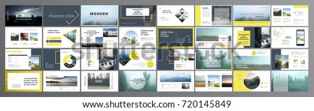 Original Presentation templates or corporate booklet.  Easy Use in creative flyer and style info banner, trendy strategy mockups.  Simple modern Slideshow or Startup. ppt.   Royalty-Free Stock Photo #720145849