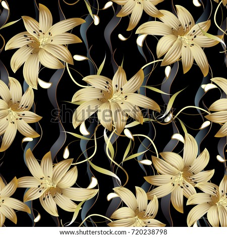 3d gold floral seamless pattern. Abstract floral black vector background. Modern surface gold 3d flowers wallpaper. Vintage 3d paisley flowers. Vertical waves. Swirl line art tracery elegance leaves #720238798