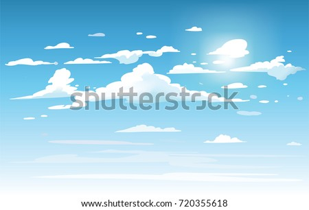 Vector blue sky clouds. Anime clean style. Background design Royalty-Free Stock Photo #720355618
