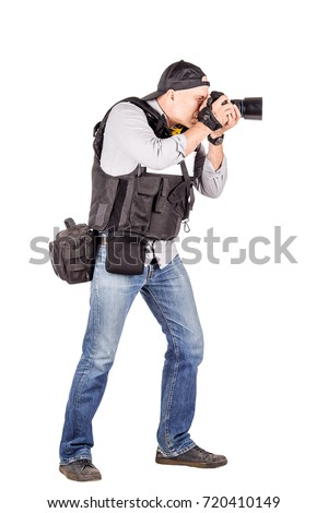 military press photographer with a professional camera. Isolated on white background