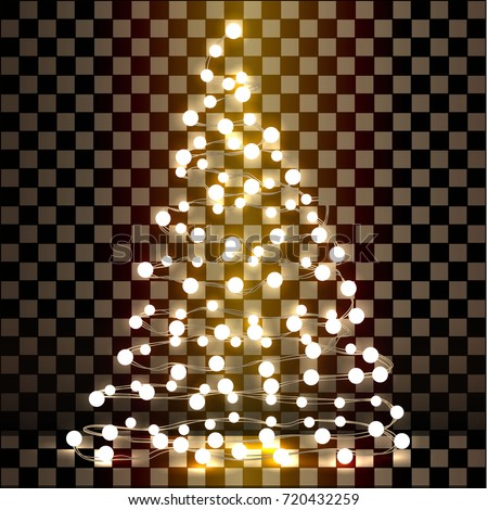 Christmas tree made of lights on a transparent background. Vector illustration.