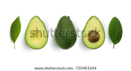 Seamless pattern with avocado and leaves on white background. Whole and half avocado with leaves.Food concept. #720481696