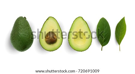Seamless pattern with avocado and leaves on white background. Whole and half avocado with leaves.Food concept. #720691009