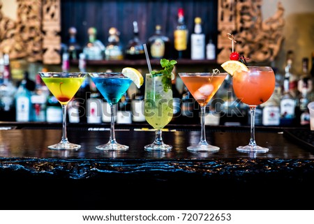 cocktails drinks on the bar Royalty-Free Stock Photo #720722653