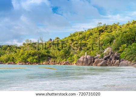 Anse Lazio rocks and vegetation, Seychelles. #720731020