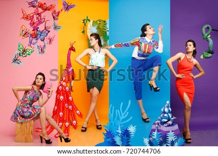 Fashion color block four season, asian girl