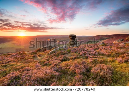 The Salt Cellar, a weathered rock formation high up on Derwent Edge in the Peak District National Park in Derbyshire #720778240