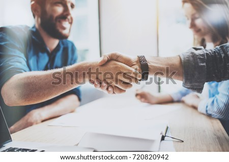Business male partnership handshake concept.Photo two mans handshaking process.Successful deal after great meeting.Horizontal, blurred background Royalty-Free Stock Photo #720820942