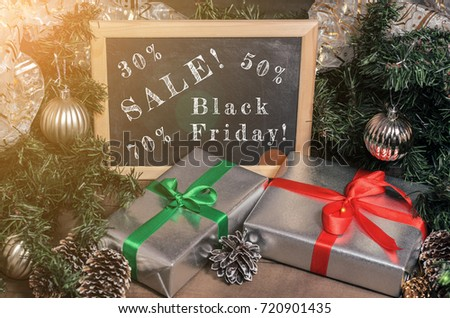 Advertisement, banner: black Friday, promotions, discounts. Christmas, New Year, gifts! Close up #720901435