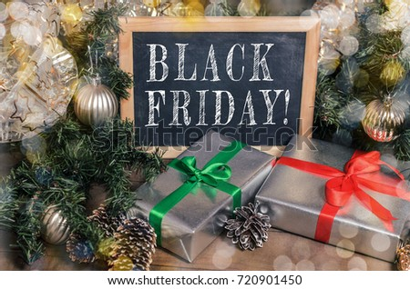 Advertisement, banner: black Friday, promotions, discounts. Christmas, New Year, gifts! Close up #720901450