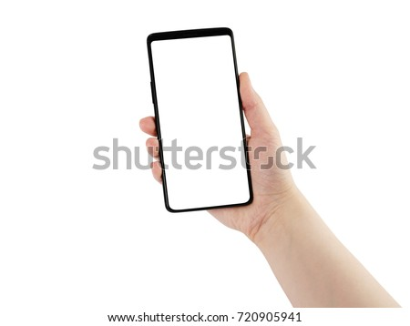 young female hand holding smartphone isolated on white #720905941