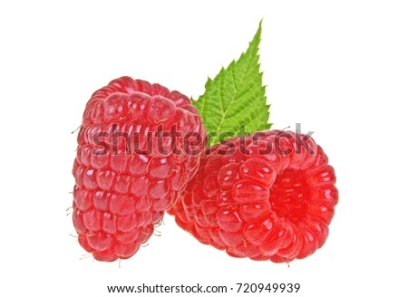 Raspberry with leaf isolated on a white background #720949939