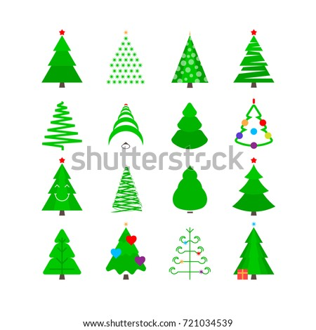 Christmas Tree Vector Icon Set. Christmas Trees in Different Forms with Toys. Green Stylized Various Types Fir-Tree Pictograms. Merry Christmas and Happy New Year Elements for Cards or Holiday Mailing #721034539