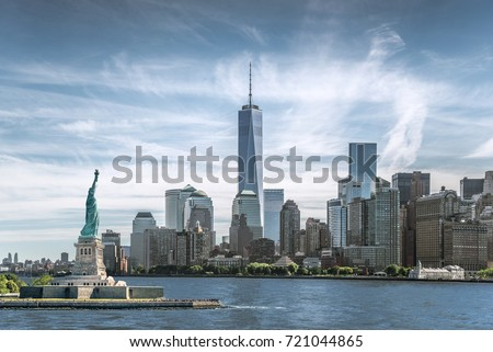 The Statue of Liberty with One World Trade Center background, Landmarks of New York City, USA #721044865