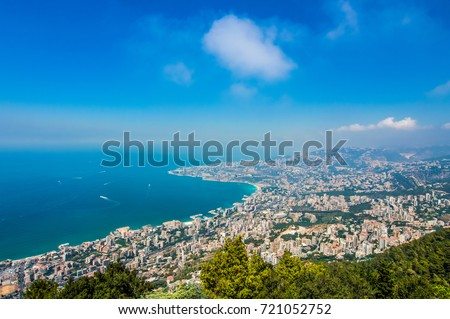 Lebanon Coast View From Harissa Royalty-Free Stock Photo #721052752