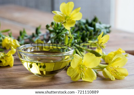Evening primrose oil in a glass bowl, with fresh evening primrose flowers in the background Royalty-Free Stock Photo #721110889