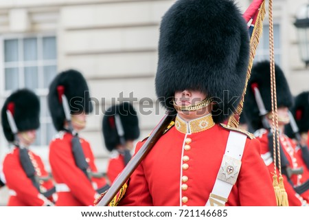 Guards at Buckingham Palace Royalty-Free Stock Photo #721146685