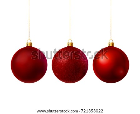 3 red Christmas balls with different textures. Vector illustration #721353022