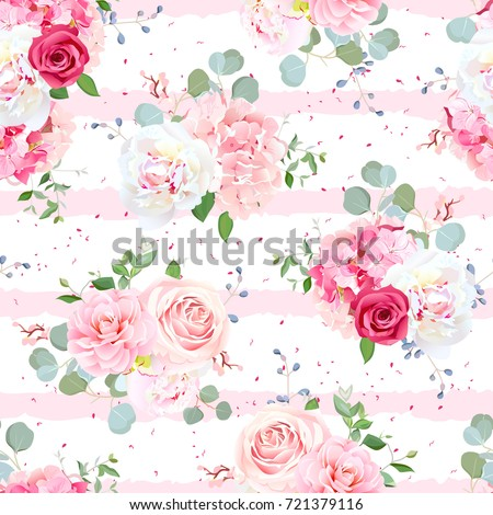 Small romantic french bouquets of red and pink rose, white peony, camellia, hydrangea, blue berries and eucalyptus leaves pattern. Seamless vector print on striped geometric background.
