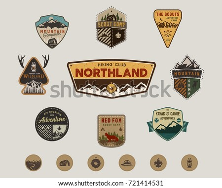 Travel badges collection. Scout camp emblem set and hiking stickers, icons. Vintage hand drawn designs. Stock vector illustration, insignias, rustic patches. Isolated #721414531