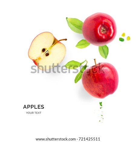 Creative layout made of apples on the watercolor background. Flat lay. Food concept.