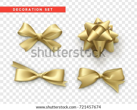 Bows gold realistic design. Isolated gift bows with ribbons.