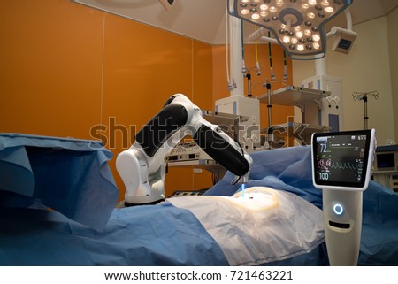 advanced robotic surgery machine at Hospital,some of major advantages of robotic surgery are precision, miniaturisation, smaller incisions, decreased blood loss, less pain, and quicker healing time #721463221