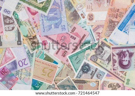 world paper money as background. close up #721464547