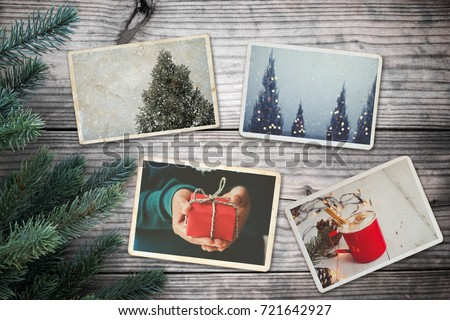 Photo album in remembrance and nostalgia in Christmas (winter season) on wood table. photo of retro camera - vintage and retro style, top view