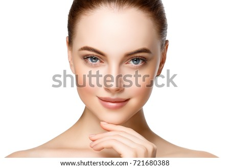 Adult woman portrait, skin care concept, beautiful skin and hands with manicure nails. #721680388