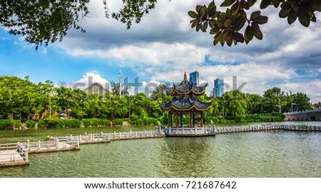 chinese garden in portland oregon #721687642
