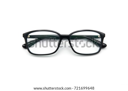 Black eye glasses spectacles with shiny black frame For reading daily life To a person with visual impairment. White background as background health  concept with copy space. #721699648