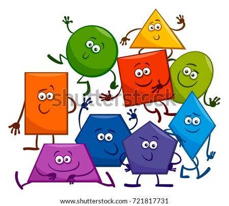Cartoon Vector Illustration of Basic Geometric Shapes Funny Characters