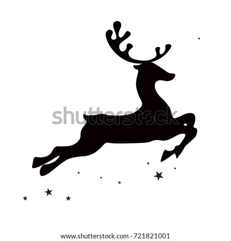 Christmas reindeer, black silhouette on white background, vector isolated christmas card