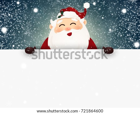 Cheerful, cute smiling Santa Claus with falling snow, snowflakes standing behind a big signboard, advertisement banner.  illustration. #721864600