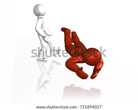 Red and white mans and footboard, white background, 3D illustration. #721894027