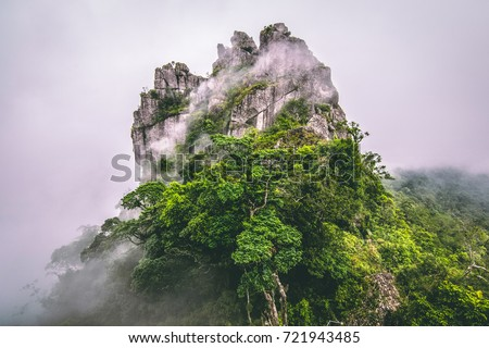 Mountain in the cloud and fog