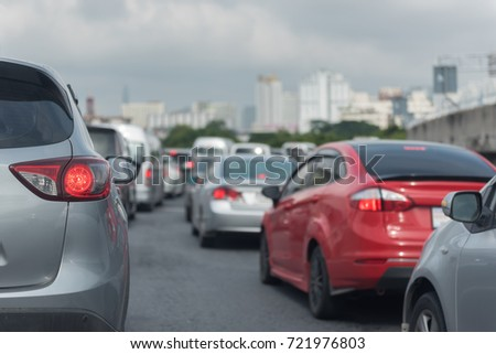traffic jam with row of cars on express way #721976803