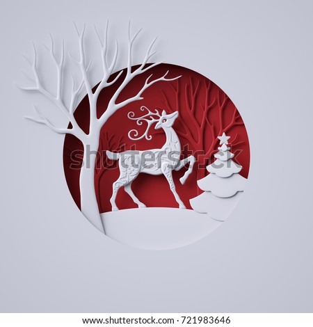 3d render, digital illustration, flat white paper craft, reindeer, fir tree, layers, stag, Christmas greeting card, white tree, round decoration, red background