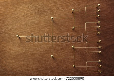 Hierarchy, command chain, company / organization chart, structure or layer and grouping concept image. Top down structure made from gold wires and nails on rustic wooden surface.  Royalty-Free Stock Photo #722030890