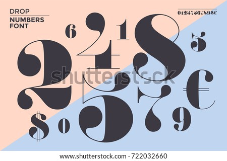 Font of numbers in classical french didot or didone style with contemporary geometric design. Beautiful elegant numeral, dollar and euro symbols. Vintage and retro typographic. Vector Illustration Royalty-Free Stock Photo #722032660