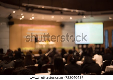 Blurred picture of student during study or exams from teacher,professor in classroom at university. Abstract background people learning,testing,training group. Lecture, or meeting about education. #722040439