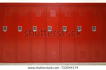 close up on red lockers in gym Royalty-Free Stock Photo #722044174